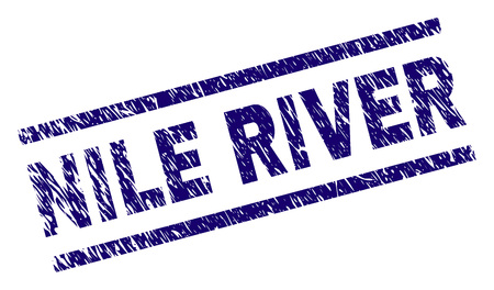 NILE RIVER seal print with scratced style. Blue vector rubber print of NILE RIVER label with scratched texture. Text tag is placed between parallel lines.