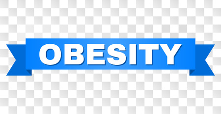 OBESITY text on a ribbon. Designed with white title and blue stripe. Vector banner with OBESITY tag on a transparent background.