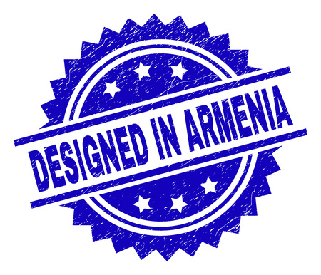 DESIGNED IN ARMENIA stamp seal watermark with distress style. Blue vector rubber print of DESIGNED IN ARMENIA text with dirty texture.