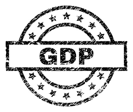 GDP stamp seal watermark with distress style. Designed with rectangle, circles and stars. Black vector rubber print of GDP label with grunge texture.