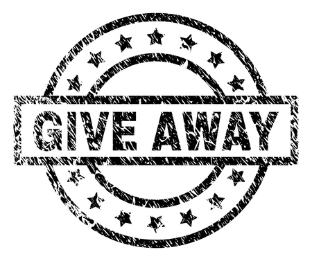 GIVE AWAY stamp seal watermark with distress style. Designed with rectangle, circles and stars. Black vector rubber print of GIVE AWAY tag with dust texture.