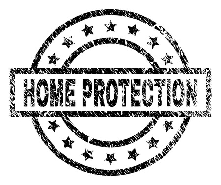 HOME PROTECTION stamp seal watermark with distress style. Designed with rectangle, circles and stars. Black vector rubber print of HOME PROTECTION label with scratched texture. Ilustração