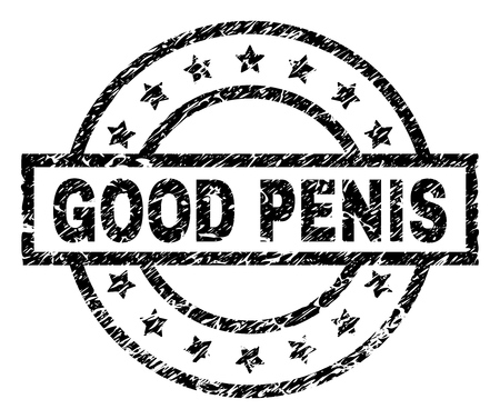 GOOD PENIS stamp seal watermark with distress style. Designed with rectangle, circles and stars. Black vector rubber print of GOOD PENIS text with dust texture. Ilustrace