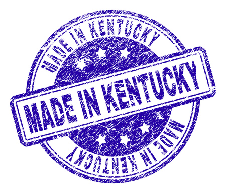 MADE IN KENTUCKY stamp seal watermark with grunge texture. Designed with rounded rectangles and circles. Blue vector rubber print of MADE IN KENTUCKY title with grunge texture.