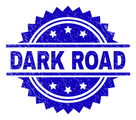 DARK ROAD stamp seal watermark with distress style. Blue vector rubber print of DARK ROAD label with unclean texture. Vectores