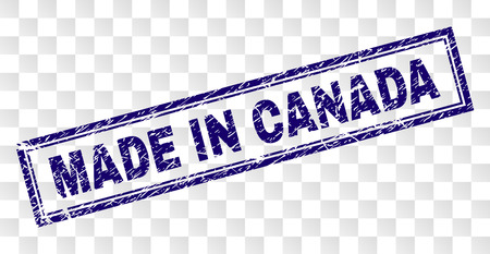 MADE IN CANADA stamp seal print with rubber print style and double framed rectangle shape. Stamp is placed on a transparent background.