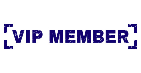 VIP MEMBER text seal print with distress texture. Text tag is placed inside corners. Blue vector rubber print of VIP MEMBER with dust texture. Ilustração