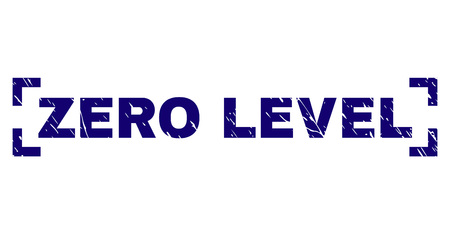 ZERO LEVEL text seal print with distress style. Text title is placed between corners. Blue vector rubber print of ZERO LEVEL with dust texture.