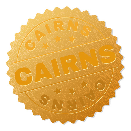 CAIRNS gold stamp award. Vector golden award with CAIRNS text. Text labels are placed between parallel lines and on circle. Golden skin has metallic structure.