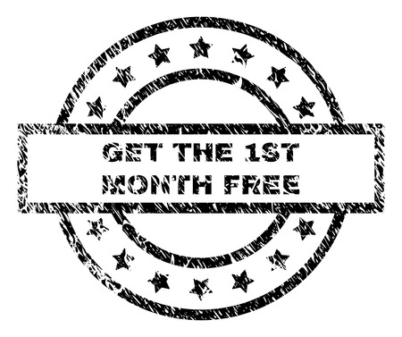 GET THE 1ST MONTH FREE stamp seal watermark with distress style. Designed with rectangle, circles and stars. Black vector rubber print of GET THE 1ST MONTH FREE label with retro texture.