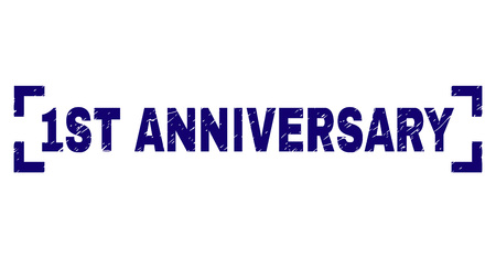 1ST ANNIVERSARY text seal watermark with distress texture. Text title is placed inside corners. Blue vector rubber print of 1ST ANNIVERSARY with unclean texture. Ilustração