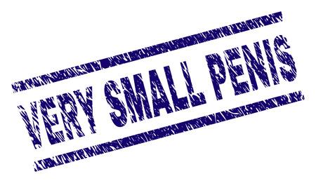 Estampado de sello de PENE MUY PEQUEÑO con estilo de angustia. Impresión de goma de vector azul de etiqueta de pene muy pequeño con textura de polvo. La etiqueta de texto se coloca entre líneas paralelas.