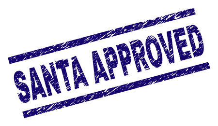 SANTA APPROVED seal print with distress style. Blue vector rubber print of SANTA APPROVED label with unclean texture. Text label is placed between parallel lines.