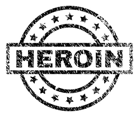 HEROIN stamp seal watermark with distress style. Designed with rectangle, circles and stars. Black vector rubber print of HEROIN text with scratched texture.