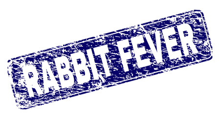 RABBIT FEVER stamp seal imprint with grunge style. Seal shape is a rounded rectangle with frame. Blue vector rubber print of RABBIT FEVER title with grunge style.