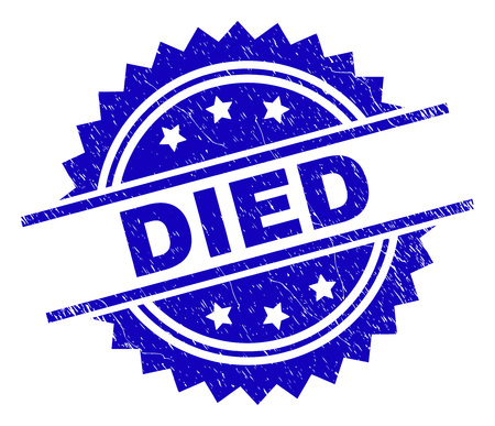 DIED stamp seal watermark with distress style. Blue vector rubber print of DIED caption with retro texture.
