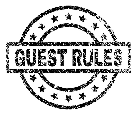 GUEST RULES stamp seal watermark with distress style. Designed with rectangle, circles and stars. Black vector rubber print of GUEST RULES tag with dirty texture.  イラスト・ベクター素材