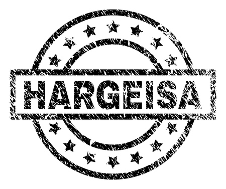 HARGEISA stamp seal watermark with distress style. Designed with rectangle, circles and stars. Black vector rubber print of HARGEISA caption with corroded texture.