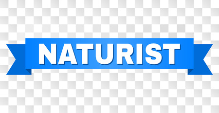 NATURIST text on a ribbon. Designed with white title and blue tape. Vector banner with NATURIST tag on a transparent background. Illusztráció
