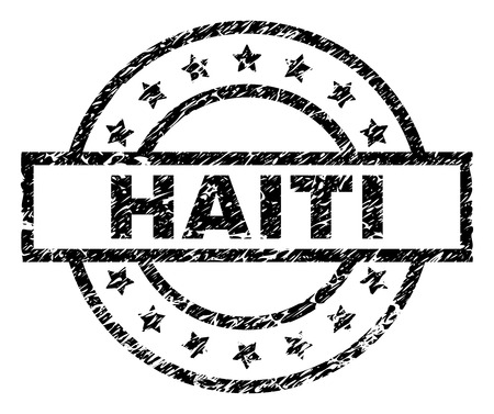 HAITI stamp seal watermark with distress style. Designed with rectangle, circles and stars. Black vector rubber print of HAITI title with corroded texture.