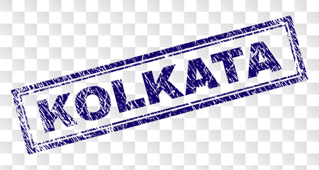 KOLKATA stamp seal print with rubber print style and double framed rectangle shape. Stamp is placed on a transparent background. Blue vector rubber print of KOLKATA caption with unclean texture.