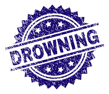DROWNING stamp seal watermark with distress style. Blue vector rubber print of DROWNING text with retro texture.