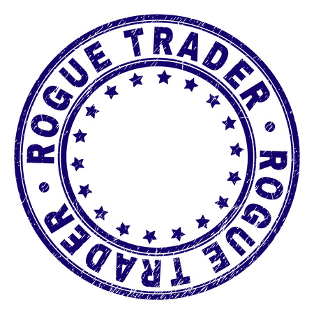 ROGUE TRADER stamp seal watermark with distress texture. Designed with round shapes and stars. Blue vector rubber print of ROGUE TRADER text with corroded texture. Illustration