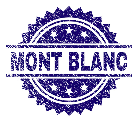MONT BLANC stamp seal watermark with distress style. Blue vector rubber print of MONT BLANC tag with scratched texture.
