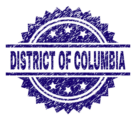 DISTRICT OF COLUMBIA stamp seal watermark with distress style. Blue vector rubber print of DISTRICT OF COLUMBIA title with retro texture.