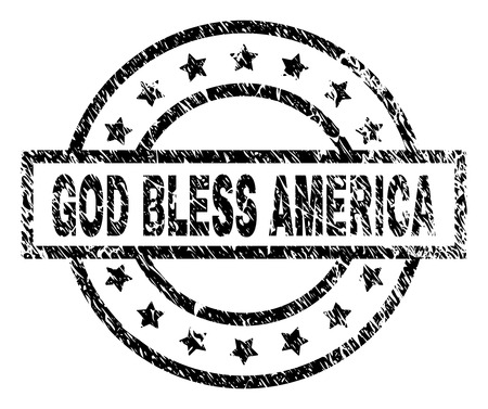 GOD BLESS AMERICA stamp seal watermark with distress style. Designed with rectangle, circles and stars. Black vector rubber print of GOD BLESS AMERICA tag with corroded texture.