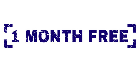 1 MONTH FREE text seal print with grunge texture. Text tag is placed between corners. Blue vector rubber print of 1 MONTH FREE with scratched texture.