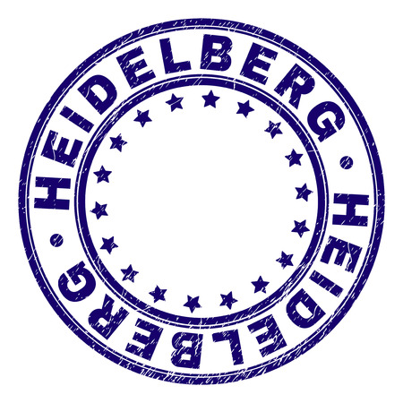 HEIDELBERG stamp seal imprint with distress texture. Designed with round shapes and stars. Blue vector rubber print of HEIDELBERG tag with scratched texture. Ilustrace