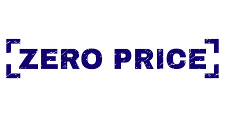 ZERO PRICE title seal print with corroded texture. Text caption is placed inside corners. Blue vector rubber print of ZERO PRICE with corroded texture. Çizim