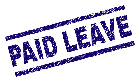 PAID LEAVE seal print with distress style. Blue vector rubber print of PAID LEAVE text with grunge texture. Text caption is placed between parallel lines. Vektorové ilustrace