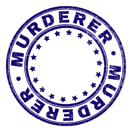 MURDERER stamp seal imprint with grunge texture. Designed with round shapes and stars. Blue vector rubber print of MURDERER label with dirty texture. 向量圖像
