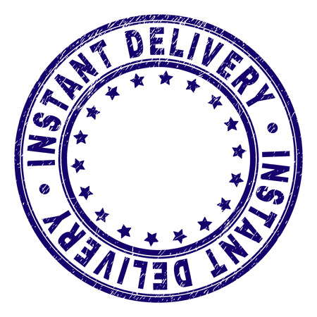 INSTANT DELIVERY stamp seal watermark with grunge effect. Designed with round shapes and stars. Blue vector rubber print of INSTANT DELIVERY title with grunge texture.
