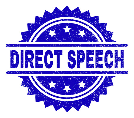 DIRECT SPEECH stamp seal watermark with distress style. Blue vector rubber print of DIRECT SPEECH caption with corroded texture.