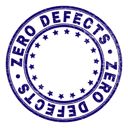 ZERO DEFECTS stamp seal imprint with grunge effect. Designed with circles and stars. Blue vector rubber print of ZERO DEFECTS title with grunge texture.