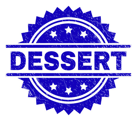 DESSERT stamp seal watermark with distress style. Blue vector rubber print of DESSERT text with retro texture.