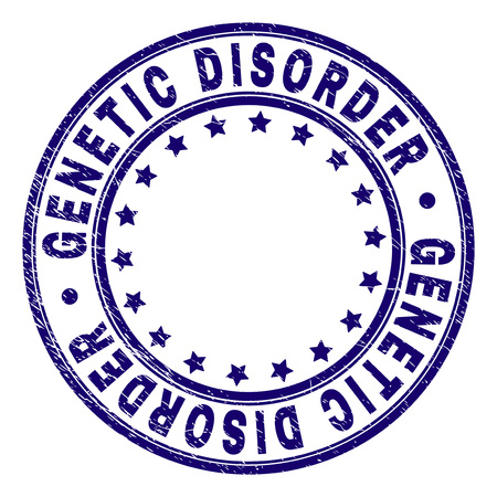 GENETIC DISORDER stamp seal watermark with grunge style. Designed with circles and stars. Blue vector rubber print of GENETIC DISORDER tag with grunge texture.