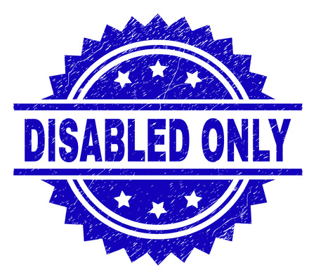 DISABLED ONLY stamp seal watermark with distress style. Blue vector rubber print of DISABLED ONLY text with scratched texture. Иллюстрация