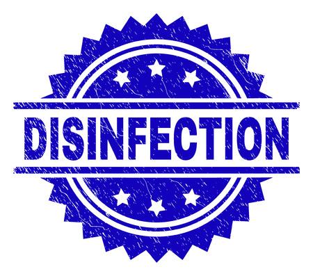 Sello de desinfección sello marca de agua con estilo de socorro. Impresión de goma de vector azul del título de DESINFECCIÓN con textura retro.