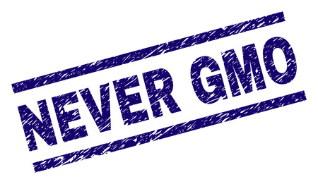 NEVER GMO seal print with distress style. Blue vector rubber print of NEVER GMO text with scratched texture. Text tag is placed between parallel lines. Ilustrace