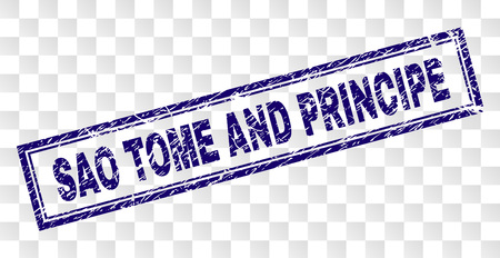 SAO TOME AND PRINCIPE stamp seal print with scratched style and double framed rectangle shape. Stamp is placed on a transparent background.