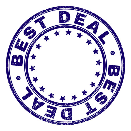 BEST DEAL stamp seal watermark with distress texture. Designed with circles and stars. Blue vector rubber print of BEST DEAL label with retro texture. Ilustrace