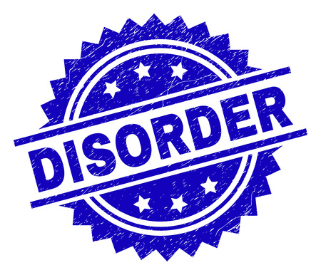 DISORDER stamp seal watermark with distress style. Blue vector rubber print of DISORDER tag with dirty texture.