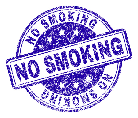 NO SMOKING stamp seal imprint with grunge texture. Designed with rounded rectangles and circles. Blue vector rubber print of NO SMOKING title with grunge texture.