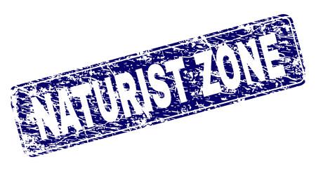 Impression de sceau de timbre NATURIST ZONE avec texture de détresse. La forme du joint est un rectangle arrondi avec cadre. Impression en caoutchouc de vecteur bleu du titre NATURIST ZONE avec une texture impure.