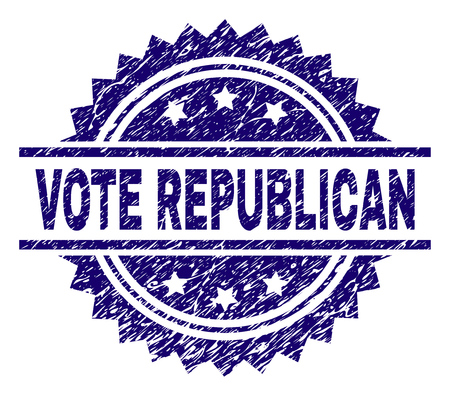 VOTE REPUBLICAN stamp seal watermark with distress style. Blue vector rubber print of VOTE REPUBLICAN caption with grunge texture.