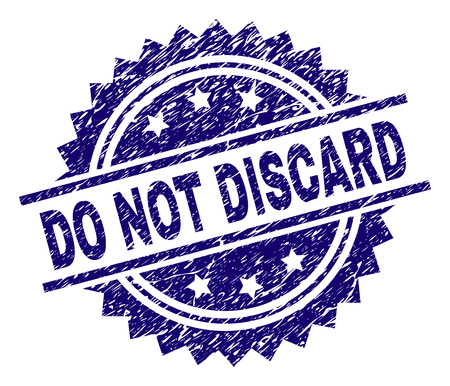 DO NOT DISCARD stamp seal watermark with distress style. Blue vector rubber print of DO NOT DISCARD label with dust texture.